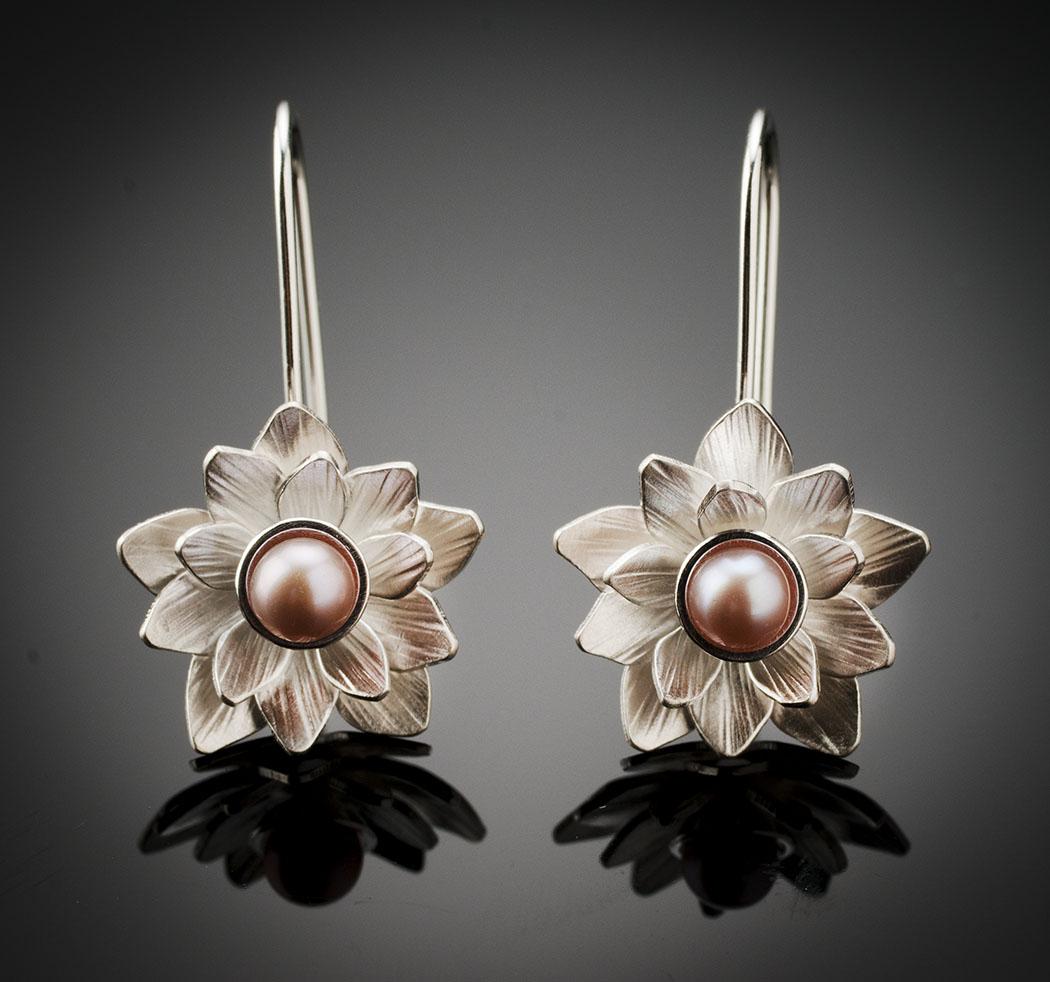 Silver Lotus Flower Earrings Centre Village Studio